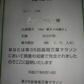 高岡万葉マラソン結果/気温31度(-_-メ)